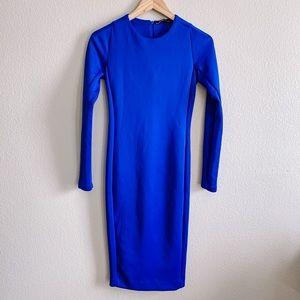 Zara Royal Blue Long Sleeve Bodycon Dress NWT